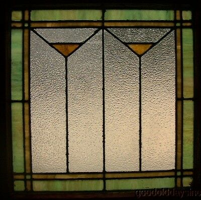 1 of 2 Antique Art Deco Leaded Stained Glass Windows Privacy Glass 27 by 26w