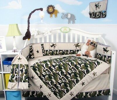 Baby Boy green Camouflage Army Baby Crib Bedding 13 pcs Set included Diaper Bag