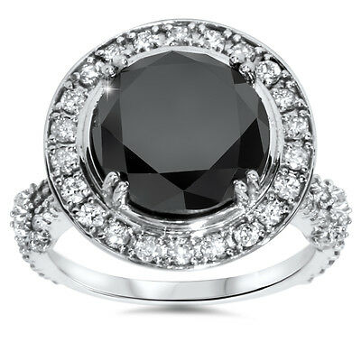 Huge 7.30CT Black Diamond Halo Vintage Split Shank Engagement Ring White Gold