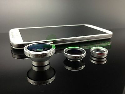 3in1 Fish eye/Wide Angle/Macro Camera Lens kit iPhone6 plus 5 S Galaxy Note S5 4