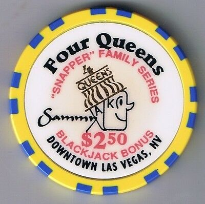 Four Queens Hotel $2.50 Yellow Snapper Sammy Casino Chip Las Vegas Nevada