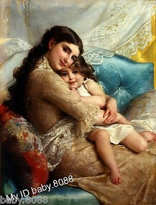 Handicraft repro oil painting : Mother and girl Daughter #9104