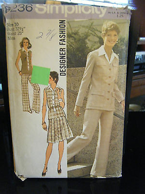 Simplicity 6236 Misses Unlined Cardigan, Top, Skirt & Pants Pattern - Size 10