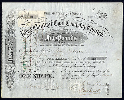 Rhos-Llantwit Coal Co. Ltd., £50 shares, 1865, near Caerphilly, only 480 issued.