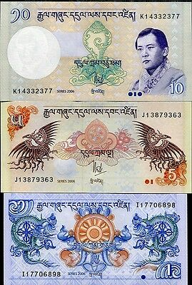 Bhutan Set 3 Pcs 1 5 10 Ngultrum 2006 P 27 28 29 Unc