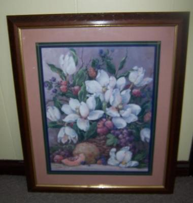 Large HOMCO Home Interiors Magnolia and Fruit Basket Picture by Barbara Mock