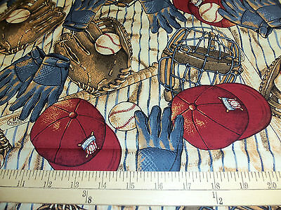 "1 yard  ""Bases Loaded Equipment Allover"" Baseball Fabric"