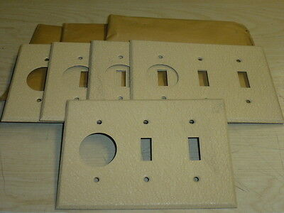 NOS! LOT of (8) DOUBLE SWITCH - SINGLE RECEPTACLE, IVORY CRACKLE, WALL PLATE,