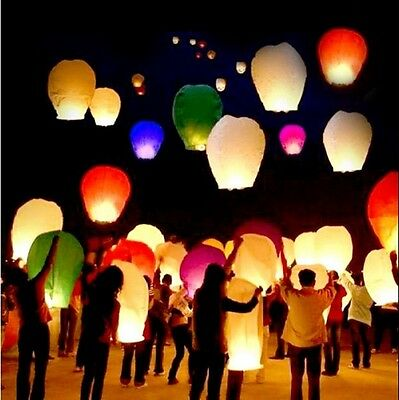 10/20/50 Paper Chinese Sky Wish Lanterns Fly Fire Lamp Wish Party Wedding Events