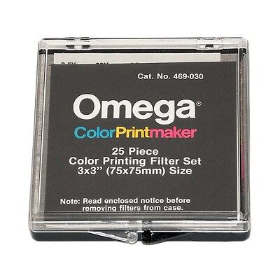 """New Omega 25-piece Color Printing Filter Set  - 3"""" x 3"""" / 75mm x 75mm"""