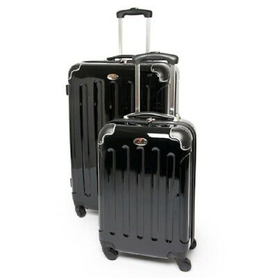 """SWISS CASE 2 PIECE 28"""" BLACK HARDSIDE ROLLING SPINNER LUGGAGE SET w/CARRY ON NEW"""