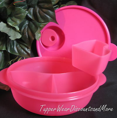 Tupperware NEW Crystalwave Divided Lunch  Dish Microwave Cold Cup Bubblegum PINK