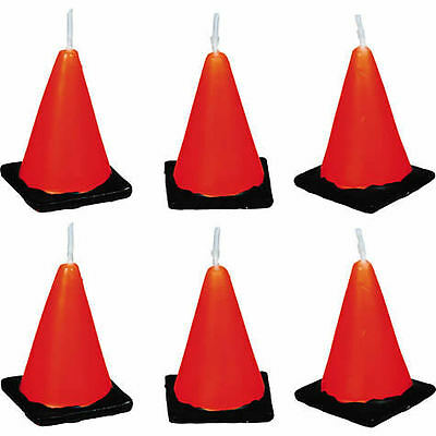 Under Construction Cone Birthday Candles 6ct