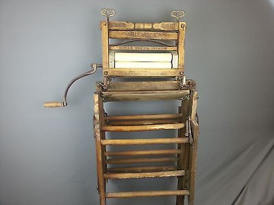 Antique Vintage Anchor Brand Bicycle Clothes Wringer On Folding Laundry Rack