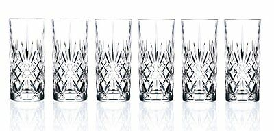 Set of 12 RCR Melodia Italian Crystal Hi-Ball Tumblers Glass Gif/Presentation