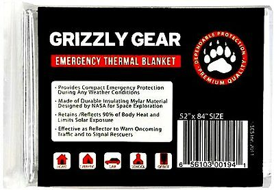 New Grizzly Gear Emergency Survival Thermal Safety Blanket Wrap Designed by NASA