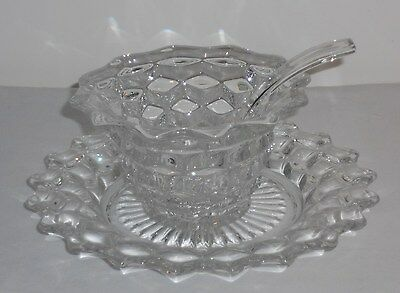 Fostoria American Clear Mayonaise Bowl & Ladle w/ Underplate