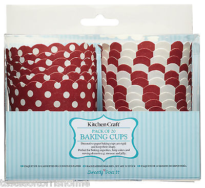 Pack of 20 x 6.5cm Red & White Spotty & Stripey Cup Cake Baking Cups Cases