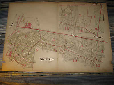 Antique 1917 Pawtucket Pleasant View Section Providence Rhode Island Handclr Map
