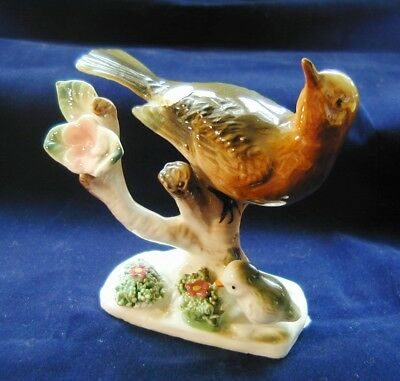Bone China Robin on Branch Figurine Baby Bird Flowers Foil Sticker Japan