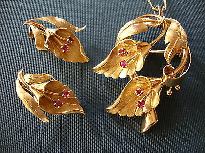 OOAK 18K 750 SOLID GOLD LILY RIBY BROOCH or PENDANT CLIP EARRINGS 26.6 GRAMS