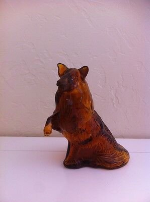 Avon Lassie Collie in Amber Glass and Plastic Vintage After Shave