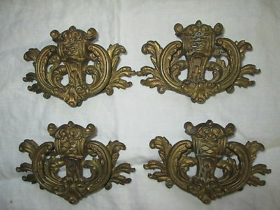 Lot 4 Large Vintage 1930s KBC Drawer Pulls / Handles Solid Brass Bail Hardware