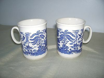 2 EIT BLUE WILLOW ENGLISH IRONSTONE MUG CUPS 8 OZS. ENGLAND