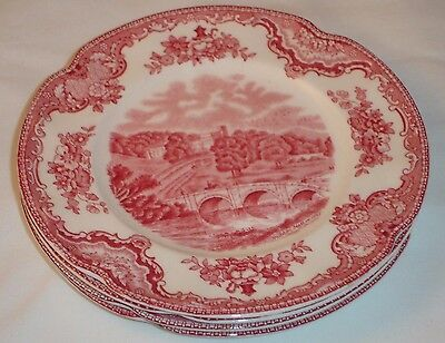 Old Britain Castles Johnson Brothers Pink Bread Plates England Set of 2