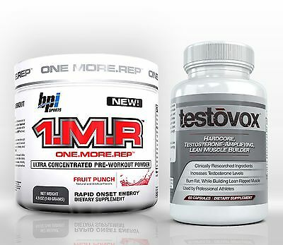 1.M.R PreWorkout + TESTOVOX Best Bodybuilding Muscle Strength Building Stack