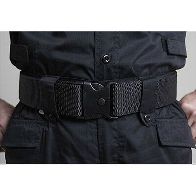 Military Police Tactical Waist Belt Adjustable Fastener Dual-Safety Belts Nylon