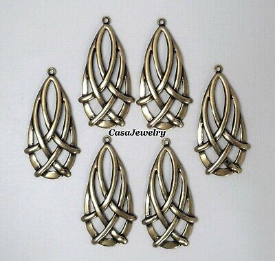 #0426 ANTIQUED GOLD CELTIC TEARDROP W/TOP HANG RING - 6 Pc Lot