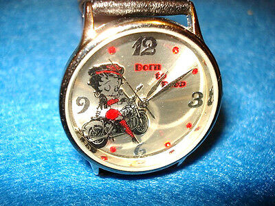 Betty Boop On Motorcycle Character Watch ,Red Jeweled Dial NM, 2000