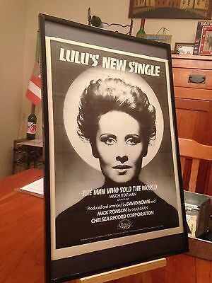 "Big 11X17 Framed Lulu ""The Man Who Sold The World"" 45 Single Lp Album Promo Ad"