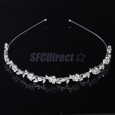 Bridal Bridesmaid Tiara Diamante Flower Leaf Headband Wedding Party Headpiece