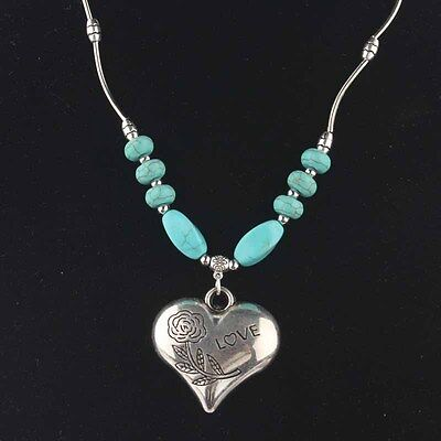 Appealing Tibetan silver  & Turquoise Women's Heart Pendant Necklace NC0224