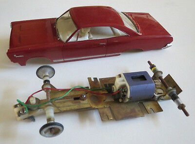 1966 AMT Comet Cyclone GT 1/24 Slot Car, Body & Chassis, Bumper Missing
