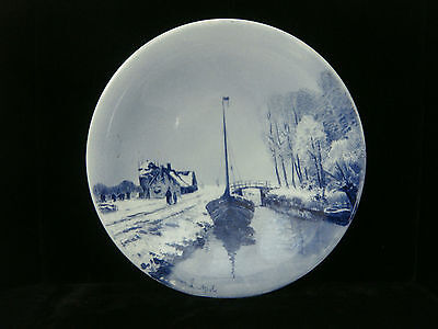 """19th Century Delft 10 1/4"""" Wall Plate - Canal & Snow Scene"""