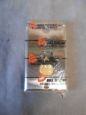 NOS Vintage Bell Stainless Steel 3 Hole Interchange Switch Outlet Cover Plate