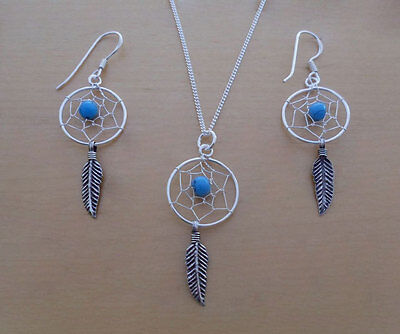 Sterling Silver Feather Spider Web Dream Catcher Earrings & Pendant & Curb Chain