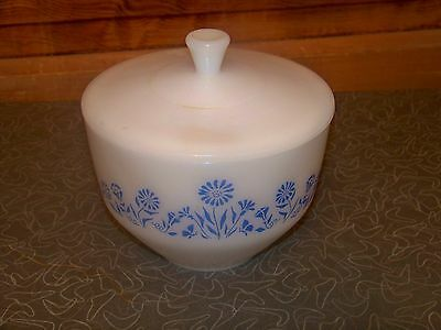Vintage Federal Glass Blue Flower Milk Glass Bowl and Lid