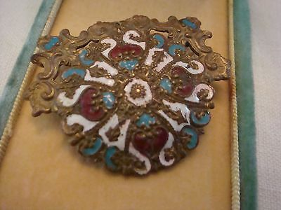 Antique Victorian Ornate Half CHAMPLEVE ENAMEL Dress Buckle FRENCH RUSSIAN