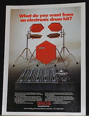 1984 Simmons red electronic drum kit photo print Ad