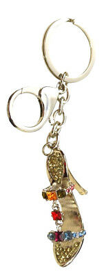 Sparkling Bling Crystals High Heel Shoe Key Ring Keyring Silver Tone  Chain