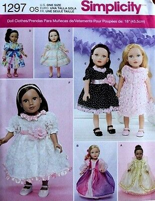 """18"""" GIRL DOLL CLOTHES/DRESSES Simplicity Sewing Pattern 1297 American Made NEW"""