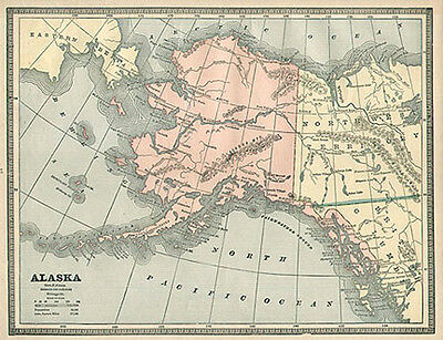 ALASKA authentic Antique Map made in 1885 genuine 129 years old