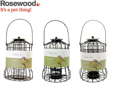 Rosewood Wild Bird Hanging Garden Squirrel Proof Feeder Lantern Fatball Seed Nut