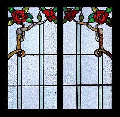Stunning Art Nouveau Rambling Roses Pair Antique Stained Glass Windows