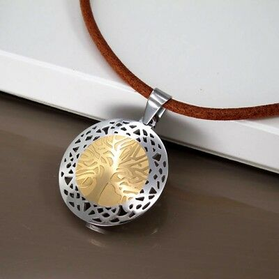 Silver Gold Tree Of Life Celtic Stainless Steel Pendant Brown Leather Necklace