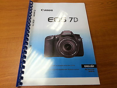 Canon Eos 7D Printed Instruction Manual User Guide 296 Pages